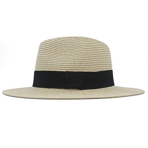 Sunny&Baby Frauen Sommer Strand Sunbonnet Männer Classic Toquilla Stroh Breiter Krempe Panama Hut Boater für Damen/Herren Mode (Color : 1, Size : 56-59cm)