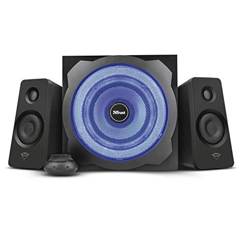 Trust GXT 628 2.1 Lautsprechersystem mit Subwoofer und LED-Beleuchtung, 120 Watt, schwarz