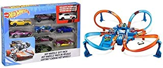 Hot Wheels 9-Car Gift Pack (Styles May Vary) AND Hot Wheels Criss Cross Crash Track Set [Amazon Exclusive]