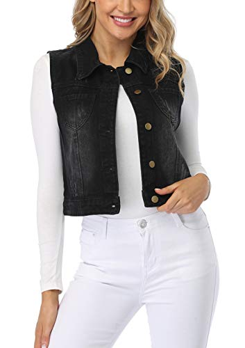 MISS MOLY Women's Sleeveless Denim Vest Washed Button Up Casual Jean Jacket w 2 Flap Pockets… Black