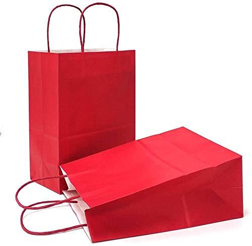 DeinPack Papiertüten aus Kraftpapier, Papiertüten mit Henkel, Geschenkverpackung, Geschenktüten, Gastgeschenke Tüten, Mitgebseltüten, Geschenktüten Set - Rot 25 x rote Papier Tüten 18 x 8 x 24 cm