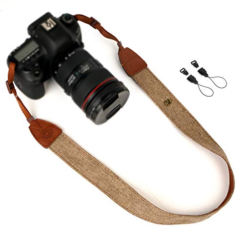 WANBY Canvas Neck Shoulder Camera Strap with Quick Release Buckles for DSLR SLR (Brown)