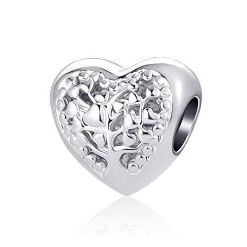 MiniJewelry Women Girls Daughter Sister Mom Family Tree Love Heart Bead Charm for Bracelets fits Pandora Charms Bracelets