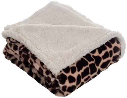 Lavish Home Throw Blanket Fleece/Sherpa Giraffe