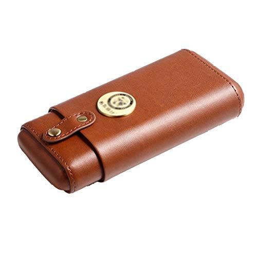 Rangements Cave à cigares 3 bâtons Humidificateur portable Ensembles de cigares de voyage Étui en cuir hydratant Bonne étanchéité Cadeau parfait (Color : Brown, Size : 8.7 * 17 * 3.7cm)