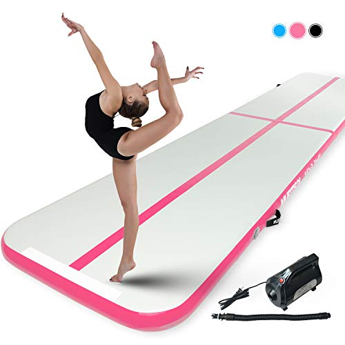 Murtisol 10ft Inflatable Gymnastics Training Mats Tumbling Mats 4 Inch Thickness for Home Use/Training/Cheerleading/Yoga/Water with Electric Pump Pink