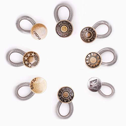 AXEN Extensor de botón Waisitband extensor para pantalones vaqueros vaqueros, pantalones, camisas, collares elásticos de resorte de metal y acero inoxidable, 8 piezas estilo 3