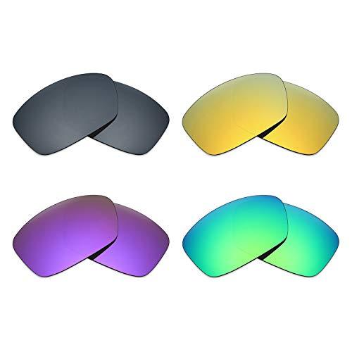 MRY 4pares polarizadas lentes de repuesto para Oakley Hijinx sunglasses-black Iridio/24K Oro/Plasma, Color Morado/Verde
