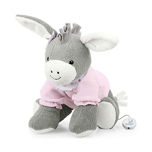 Sterntaler Mädchen Spieluhr, Stofftier Esel Emmi Girl, Austauschbares Spielwerk, Größe: L, Grau/Rosa