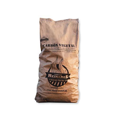 Carbon Vegetal Barbacoa Natural sin Humo carbones para barbacoas de Quebracho Blanco Argentino Alto Poder calorifico White Edition (Carbón Vegetal, 1 Saco 15 kg)