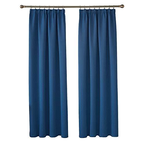 Deconovo Vorhang Verdunkelungsgardinen mit Kräuselband Blickdicht Gardinen Wohnzimmer 245x140 cm Blau 2er Set