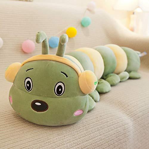 Pluche Zacht Dragende Koptelefoon Caterpillar Lang Kussen Knuffel Slaapkussen Lappenpop Pop-groen_90cm
