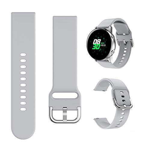 Minggo Band Compatible with Samsung Galaxy Watch Active/Active2 40mm/44mm,Silicone Sports Wristband Replacement Compatible for Galaxy Watch 42mm/Gear S2 Classic/Gear Sport Smart Watch (Grey)