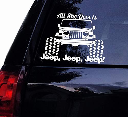 DKISEE alles wat ze doet is jeep jeep jeep - hart koplampen meisje houden van haar jeep Vinyl auto sticker laptop sticker auto raam muur sticker 5 inch Onecolor