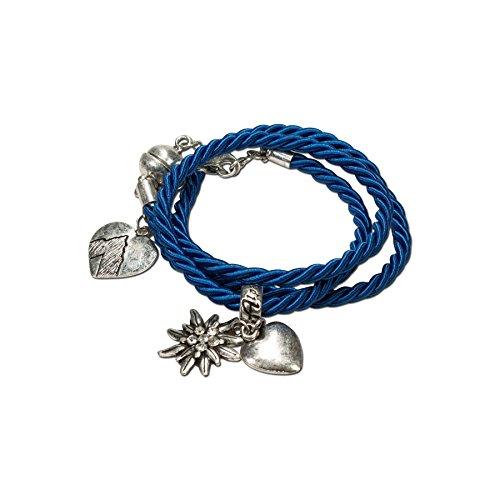 Alpenflüstern Trachten-Wickelarmband Edelweiß - Damen-Trachtenschmuck, Trachtenarmband, Kordel-Armband blau DAB026