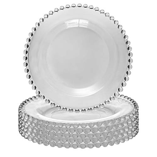 Dibor Bella Perle Lot de 6 assiettes à dessert en verre avec bord perlé