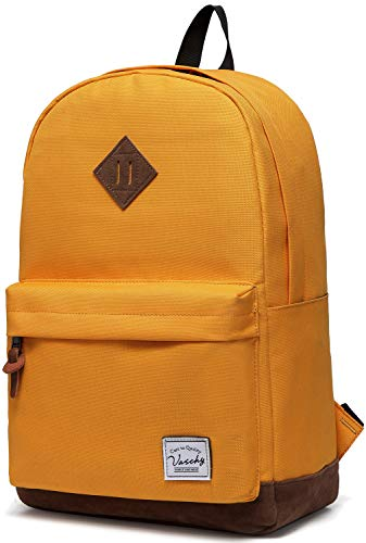 Vaschy Classic Lightweight School Bag Water Resistant Backpack for Girls, Ladies Travel Daypack fits 15-Inch Laptop (Yellow)