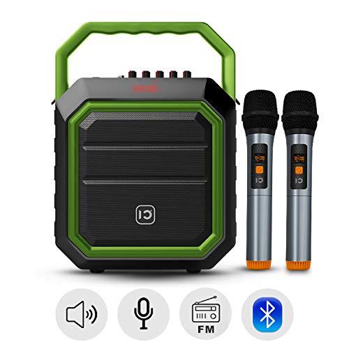 SHIDU Portable Pa System 30W Bluetooth Pa Speaker con dos micrófonos inalámbricos Altavoz recargable para fiestas al aire libre Sistema de sonido portátil con radio FM/USB/SD Reader para Karaoke