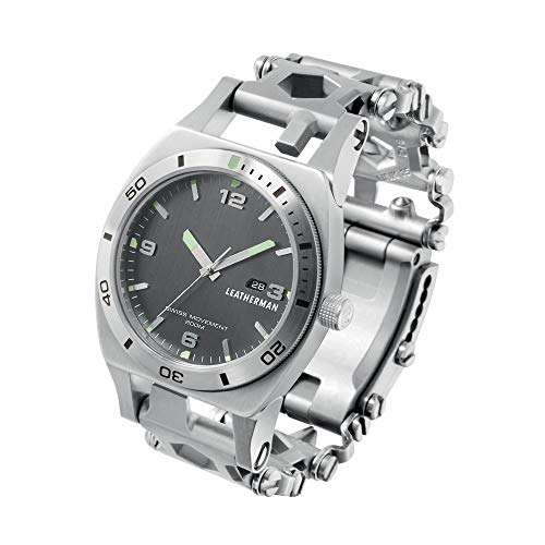 LEATHERMAN Tread Tempo, Multi-Tool-Armbanduhr, 30 Werkzeuge stets griffbereit am Handgelenk, flexibel einstellbar, Edelstahl