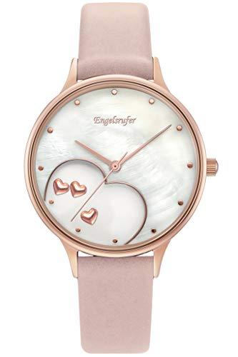 Engelsrufer Damen Uhr Herzen roségold Nubukleder rosa