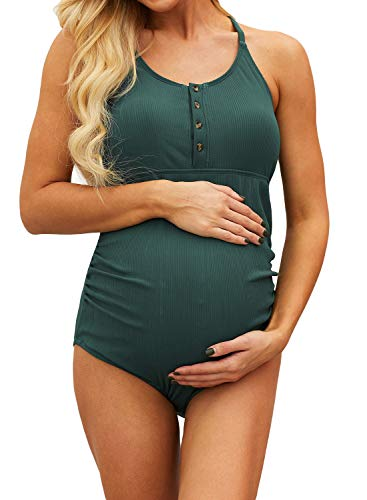 Diukia Women Plus Size Maternity Swimsuit Stretch Ruched One Piece Pregnant Swimwear Ribbed Snap Front Spaghetti Strap Bathing Suit Green 2XL