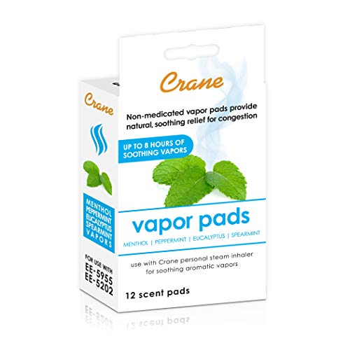 Crane Menthol-Eucalyptus Universal Vapor Pads, 12 Pack, for use Droplets, Corded Inhaler, Warm Mist humidifier