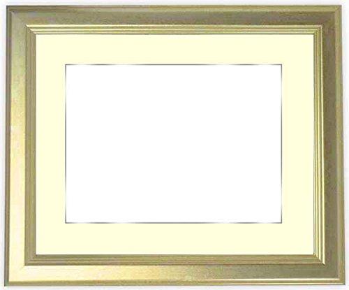 【キズあり品】写真用額縁 9564/シルバー Lサイズ(127×89mm) ガラス マット付(銀色細縁付き) マット色:黒