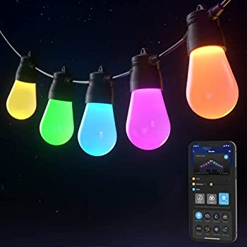 Govee Bluetooth 48ft RGBW Outdoor String Lights Patio Lights App Control IP65 Waterproof Color Changing lights15 LED Bulbs with DIY and 8 Scene Modes Connectable and Dimmable for Backyard Party