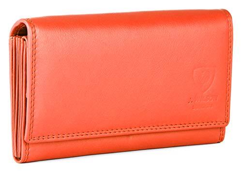 Portafoglio da donna con blocco RFID, lussuoso e di qualità, in morbida pelle nappa, con diversi scomparti per tessere e carte di credito e cerniera, in scatola regalo Arancione M