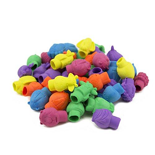Adorox 144 Pieces Neon Safari Zoo Assorted Animals School Pencil Eraser Tops (144 Pieces)