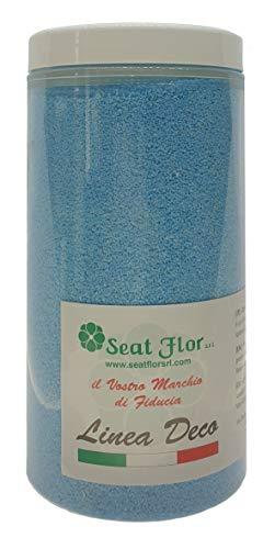 Deco – Sable naturel coloré hypoallergénique et non toxique – Couleurs vives – 0,5 mm – Vendu en pot de 550 ml/750 g – Fabriqué en Italie bleu ciel