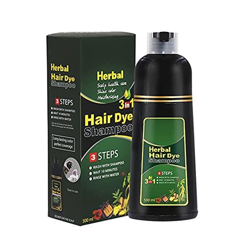 Champú para oscurecer el cabello a base de hierbas de 10 minutos, Champú para teñir el cabello de 500 ml Champú para teñir el cabello a base de hierbas para hombres y mujeres (C-2)
