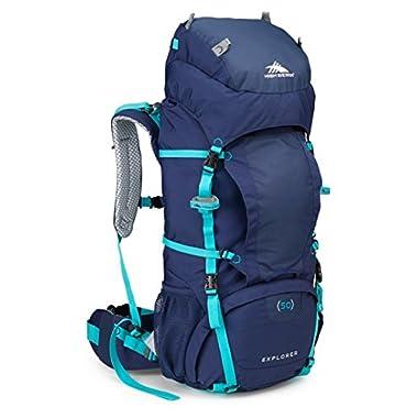 High Sierra Women's Explorer 50L Top Load Internal Frame Backpack Pack, High-Performance Pack for Backpacking, Hiking, Camping, True Navy/True Navy/Tropic Teal