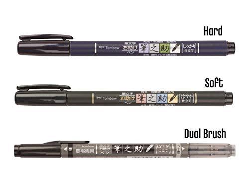 Tombow Fudenosuke Brush Pen 3 Type Set, Hard (GCD-111), Soft (GCD-112), Dual Brush(GCD-121), Original 5 Colors Sticky Notes