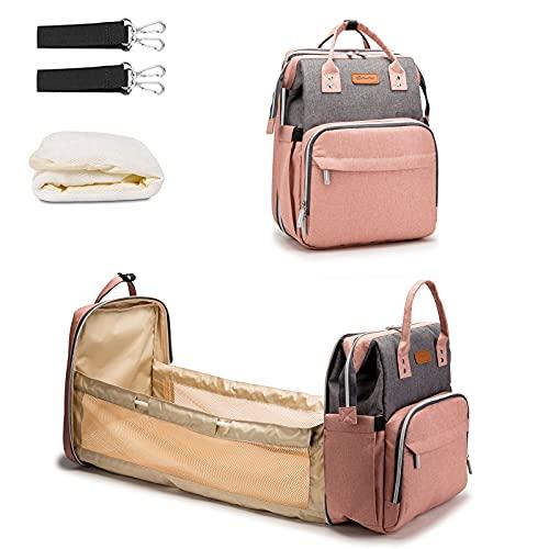 Multifunción pañal bolsa de pañales cambiador de viaje, gran capacidad mochila bolsa reutilizable, ligero elegante Durable Mochila con bolsillo botella aislante para mamá y papá (CB Gray Pink)