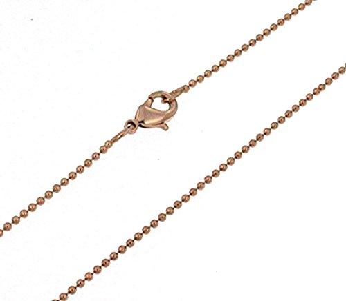 Kugelkette Rotgold Doublé 1,5 mm breit Länge 90 cm Halskette Goldkette Herren-Kette Anhängerkette Damen Geschenk Schmuck ab Fabrik Italien tendenze PRY1,5-90