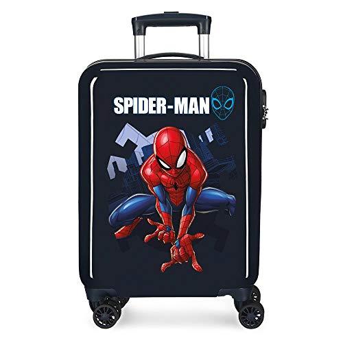 Marvel Spiderman Action Maleta de cabina Azul 37x55x20 cms Rígida ABS Cierre combinación 34L 2,6Kgs 4 Ruedas Dobles Equipaje de Mano