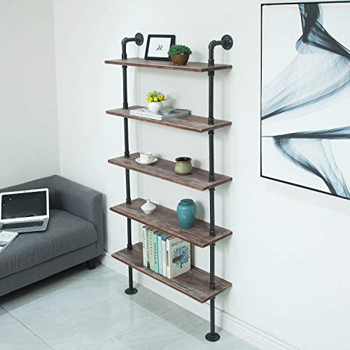 WGX Design For You Industrial Pipe Shelves Rustic Wood Ladder Bookshelf Wall Mounted Shelf for Living Room Decor and Storage (32in, 5 Layers)