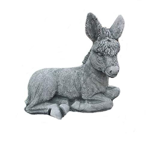 Steinfigur Esel Pferd Tierfigur Garten Deko Gartenfiguren Steinfiguren Steinguss W