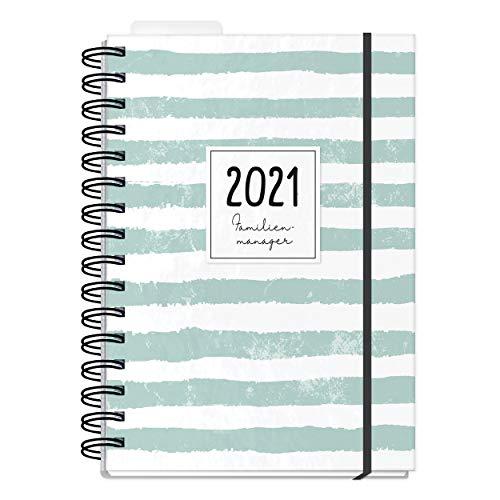 Familienplaner 2021 A5 mit 5 Stpalten, Wochenplaner für Familien, Kalender Ringbuch mit Hardcover, Familienplaner Buch mit Ferienterminen, Stundenplänen, uvm