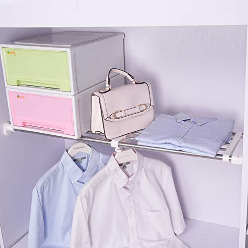 BAOYOUNI extensible armario Rack de almacenamiento de estantería ajustable separador armario armario divisor organizador de DIY barra para cocina baño dormitorio, Extendable: 84-117.5cm
