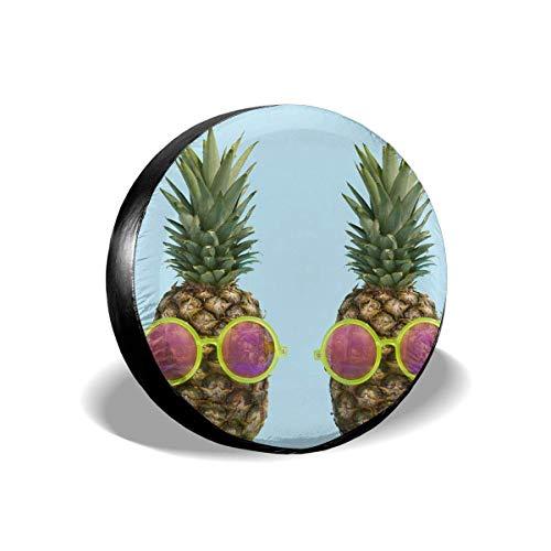 Asa Dutt528251 Protectores de Llantas Resistentes a la Intemperie, Cubiertas de Llantas de Repuesto, piña Tropical con Gafas de Sol Cubierta de llanta de Repuesto Impermeable Resistente
