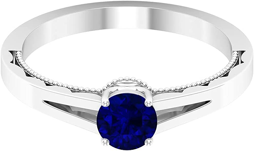 3/4 CT Blue Sapphire Solitaire Ring, Simple Engagement Ring, Gold Beaded Engraved Ring (5 MM Round Shaped Blue Sapphire), 14K White Gold, Size:US 13.0