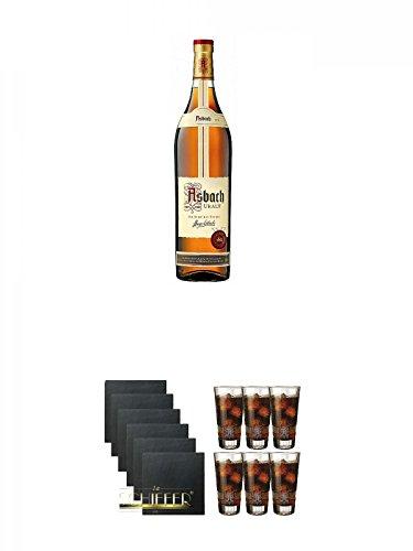 Asbach Uralt klassischer deutscher Weinbrand Magnumflasche 3,0 Liter + Schiefer Glasuntersetzer eckig 6 x ca. 9,5 cm Durchmesser + Asbach Cola Gläser 6er Karton