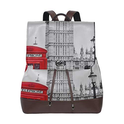 Cabina telefónica roja y mochila Big Ben College Mochila para mujer Cordón de cuero Mochila impermeable de cuero para niños Mochila linda de cuero