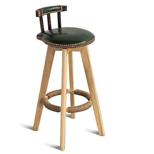 American bar stoel van massief hout, retro, barstoel, barkruk, barkruk, barkruk, barkruk, donkergroen, Oil Wax Skin
