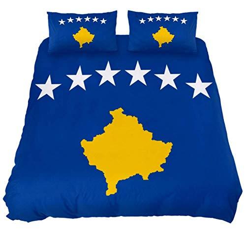 Eslifey 3-teiliges Bettwäsche-Set mit Flaggen-Motiv von Kosovo, weich, 150 x 200 cm, für Schlafzimmer