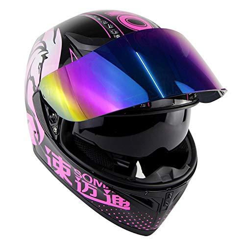 PinkDreamland Rosa Motorrad Integralhelm - DOT-zertifizierter Straßenrennen-Motorradhelm Cromwell-Helm Jet Doppelspiegel modularer Klapphelm / (5K-Farblinse),M