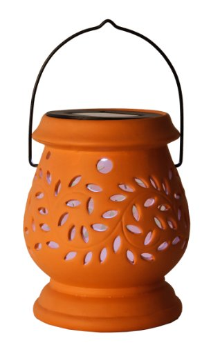 Best Season LED-Solar-Laterne Clay Lantern / 1 cool light LED/mit Solarpanel, inklusiv Akku/outdoor/terracotta 477-48