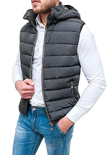 Evoga Chaqueta de plumón para hombre, Slim Fit, color azul, chaleco bomber sin mangas con capucha gris M